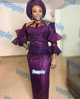 2019 african sequence lace for wedding dresses Nigerian African tulle lace fabric with sequins