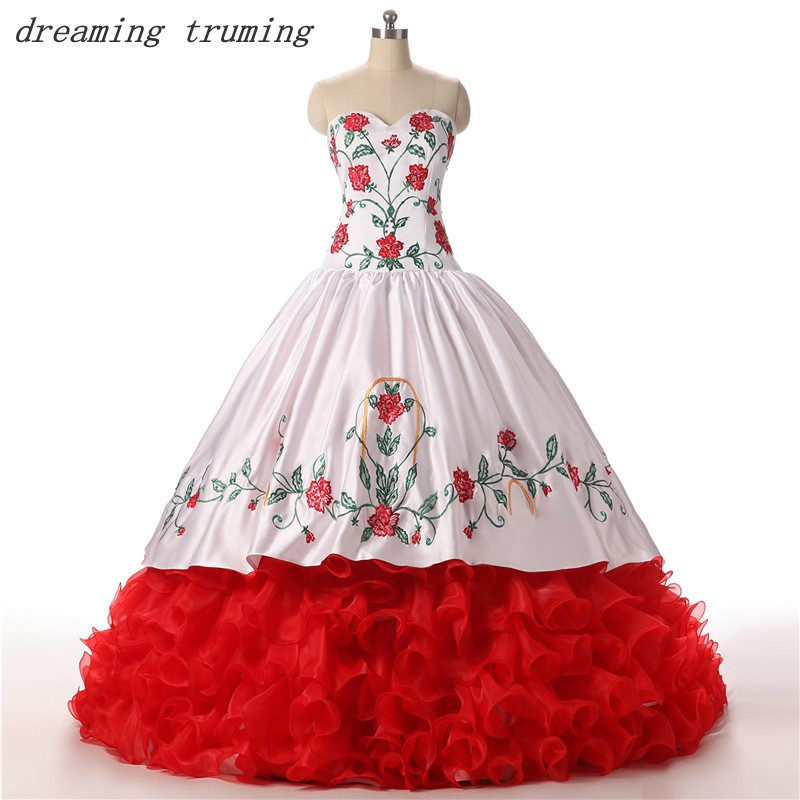 vestidos de 15 anos White And Red Quinceanera Dresses Embroidery Ball Gowns Puffy Long Sweet 16 Dresses Debutante Gowns