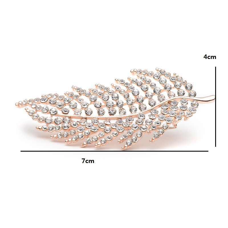 Glitter Berlian Imitasi Bulu Bros Untuk Wanita Dan Pria Paduan Daun Syal Bros Pin Pesta Pernikahan Aksesoris Corage