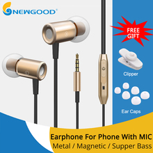 Sport Wired earphone for phone gaming headphones earphones in ear headphones bass with microphone for computer Magnetic