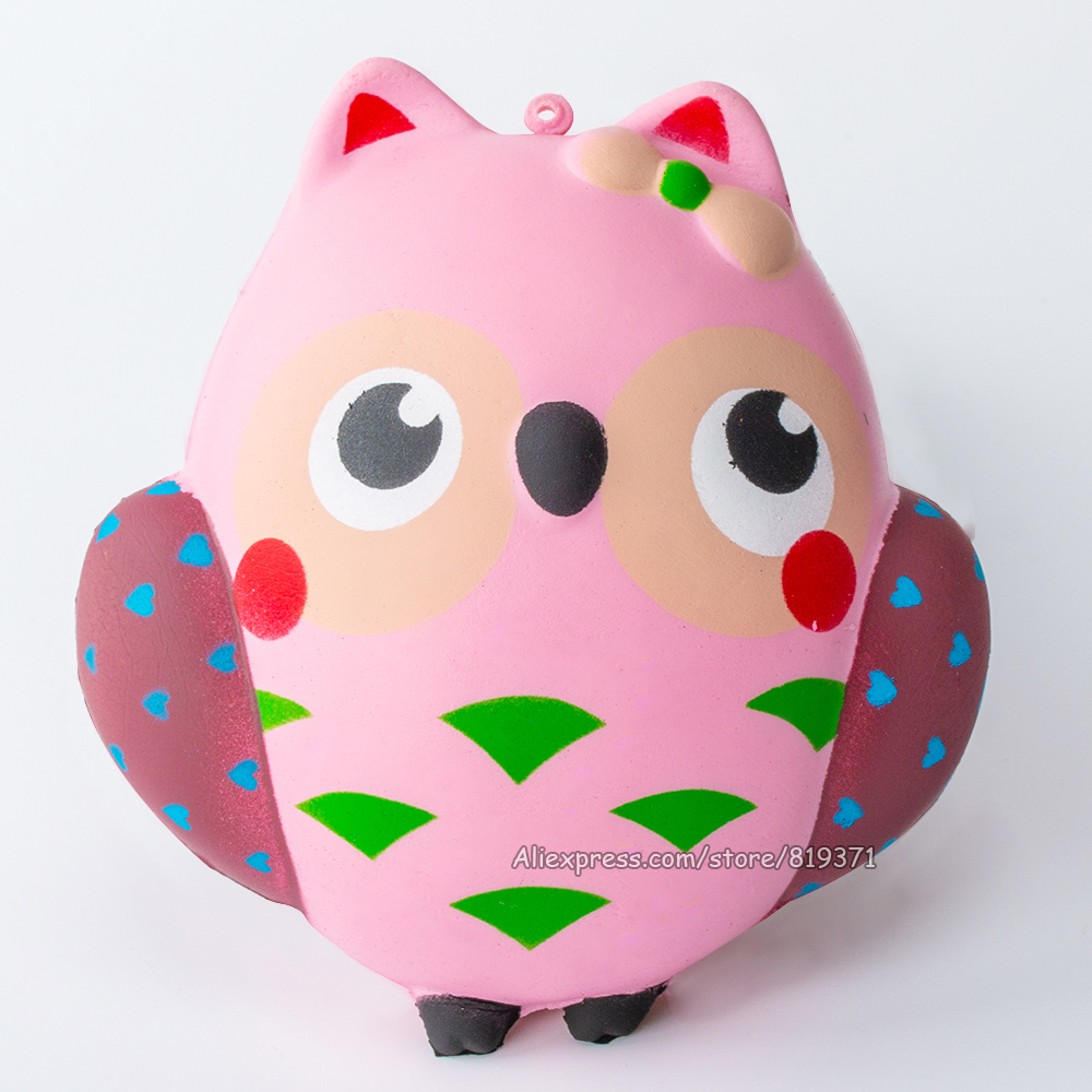 Kawaii Jumbo Big Squishy Owl Doll Slow Rising Squeeze Fun Antistress Toy For Kids Adults Stress Reliever Phone Gadget Strap