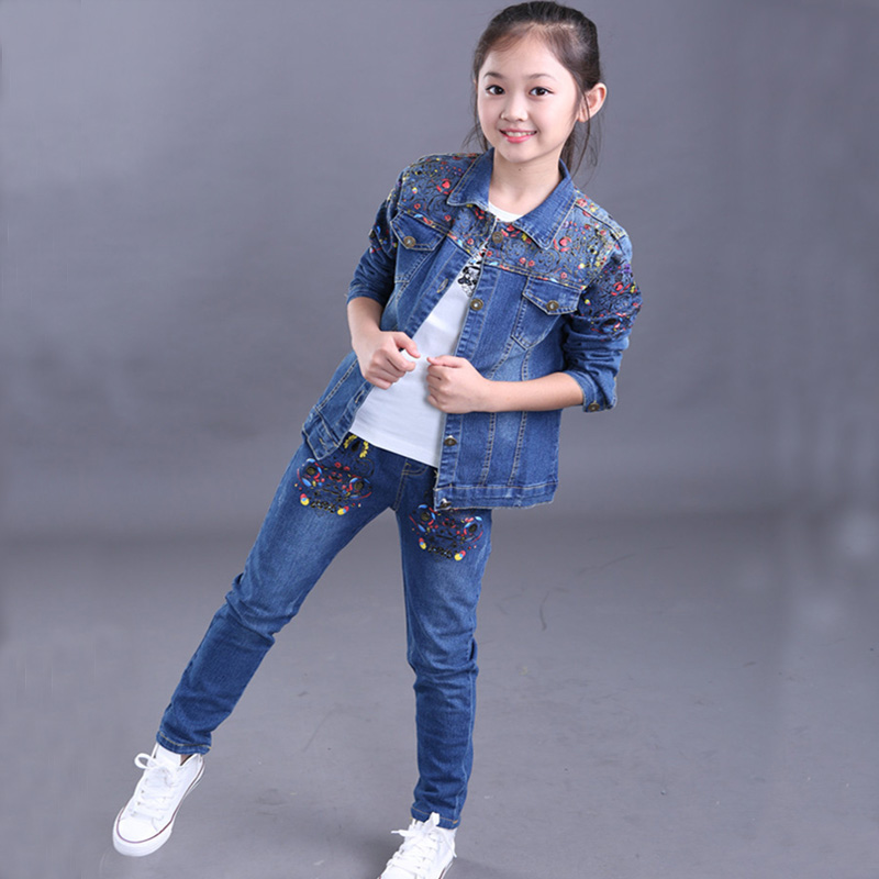 ФОТО 2016 Fashion Clothing Sets Denim Winter Jacket  +Jean Pant 2 Piece Set Children Jeans For Girls Kids Clothes