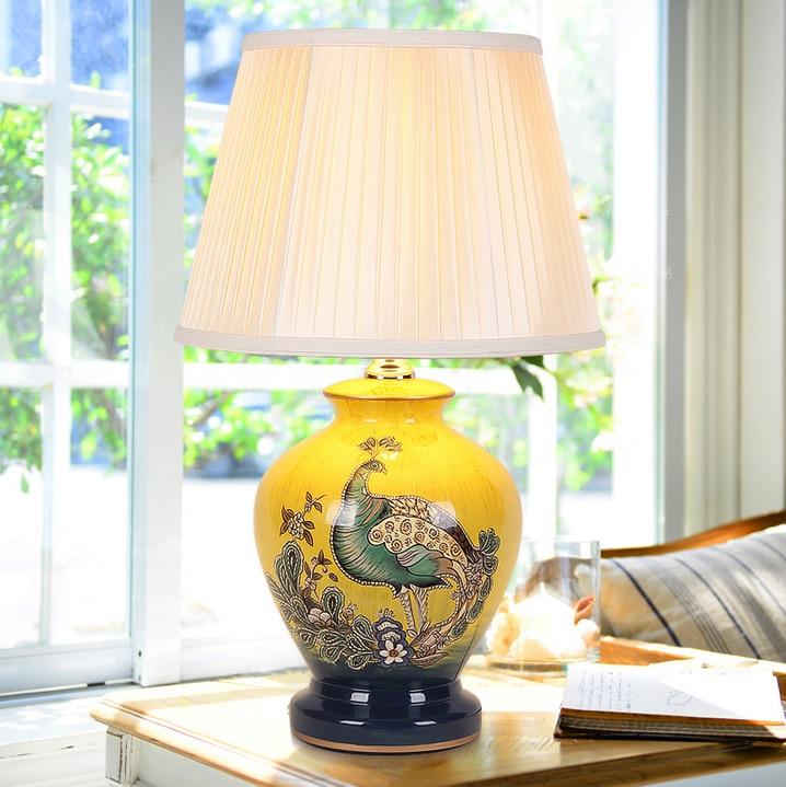 Elegant Foyer Table Lamps : Chinese style yellow phoenix bird ceramic art table lamps