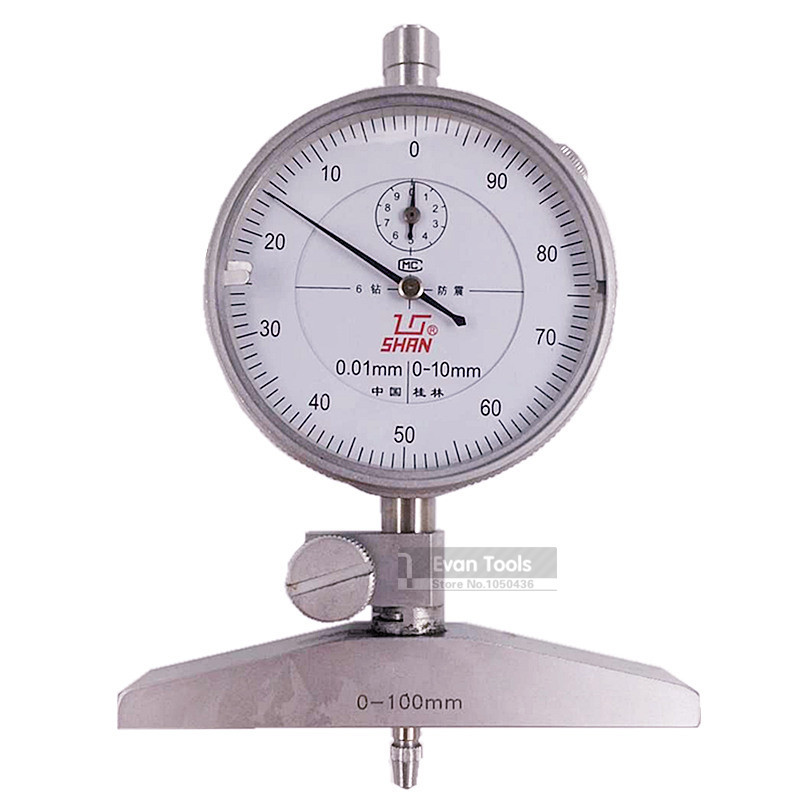 все цены на SHAN 0-100mm/0.01mm Dial Test Indicator Depth Dial Gauge Shock-Proof Reloj Comparador Thickness Meter Measure Tools онлайн