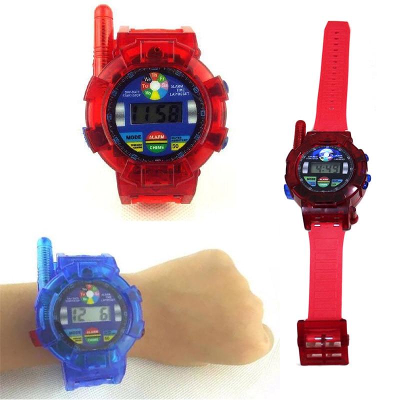 2PCS Walkie Talkie Speelgoed voor Kinderen Spion Polshorloge Walkie Talkie Kinderen Elektronica Gadget Speelgoed 2 Way Radio's Rood en Blauw