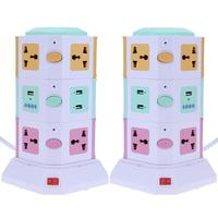 3 Layer 10 Ways Universal Smart Electrical Plug Vertical AC Power Socket Outlet with Independent Switch Suit + 2 USB Ports