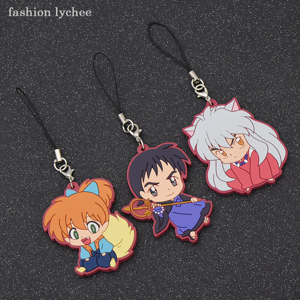 fashion lychee Anime Inuyasha Rubber Keychain Key Ring Children s Cosplay  Gift Women Men Bag Pendant Accessories-in Key Chains from Jewelry    Accessories on ... 46c4b5832