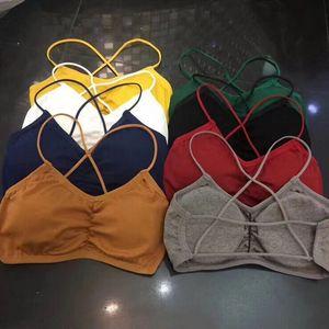 Image 3 - Damskie krótkie bluzki Camisole Camis jednolite kolory Bralette bielizna biustonosz typu strappy topy bawełniana kamizelka bez rękawów