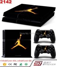 Légende de basket-ball Michael Jordan Or Air Logo decal peau pour ps4 console et 2 pcs contrôleur autocollant