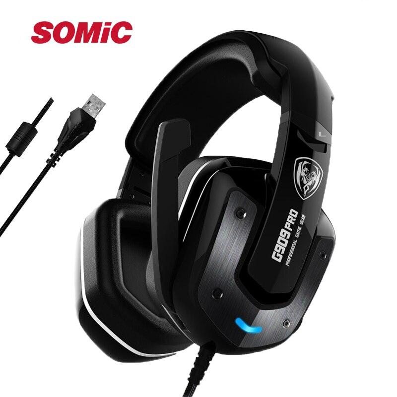 SOMIC G909PRO Vibration USB LED Gaming Headset Noice Cancelling Headphone Stereo Headset Gamer 7 1 Surround