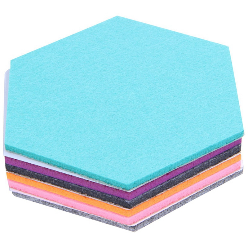 HOT-Set Of 6 Hexagon Felt Pin Board Self Adhesive Bulletin Memo Photo Cork Boards Colorful Foam Wall Decorative Tiles With 6 P(China)