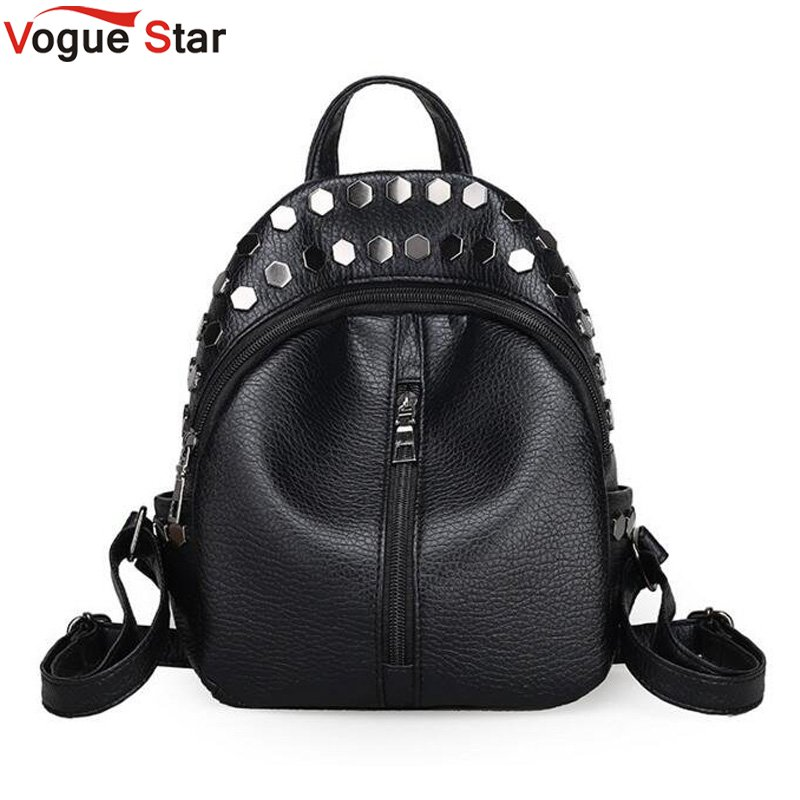 где купить Fashion small women backpacks small rivet zipper pu leather student backpack preppy style backpack girls women's back pack LB215 дешево