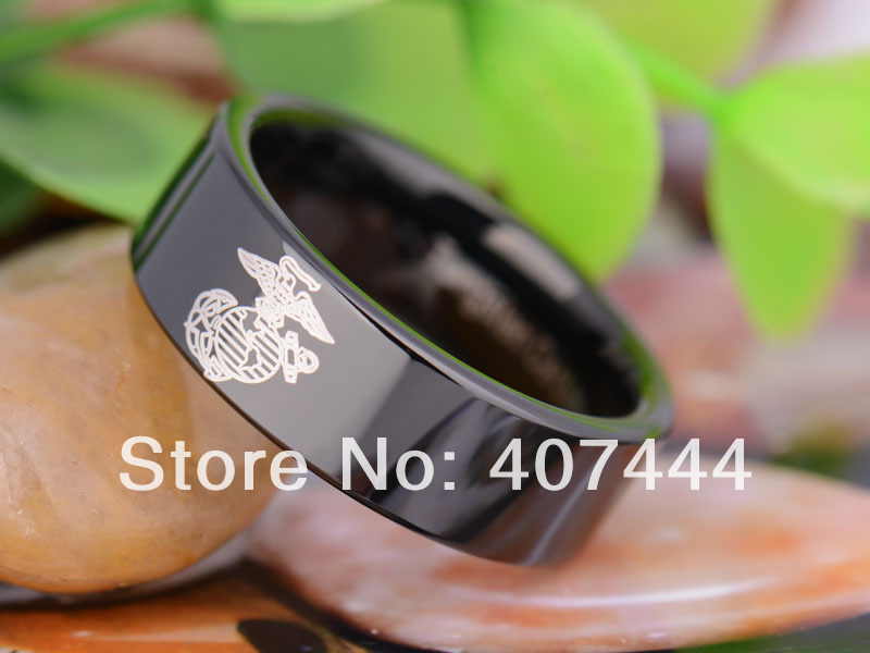 free shipping ygk jewelry hot sales 8mm black pipe military army marines lord mens tungsten carbide - Military Wedding Rings