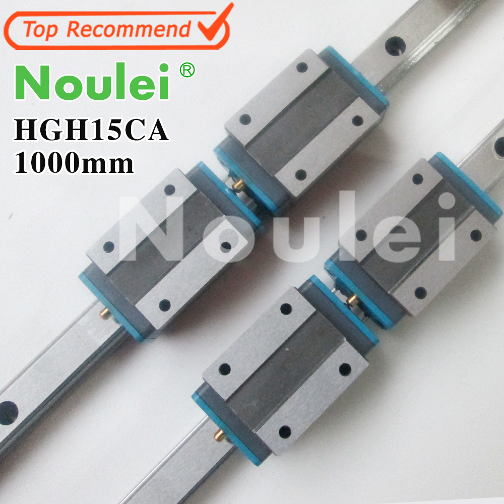 Noulei Linear Guide 2pcs HGR15 L1000mm Rail + 4pcs HGH15CA Narrow Carriages for HGH15 CNC Router CNC Parts 100% new hiwin linear guide hgr20 l500mm rail 2pcs hgh20ca narrow carriages for cnc router cnc parts