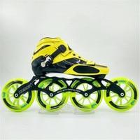 Waard! Koolstofvezel Glasvezel Speed Inline Skates Geel Kid's Volwassen Concurrentie Street Racing Sportschoenen Training Patines