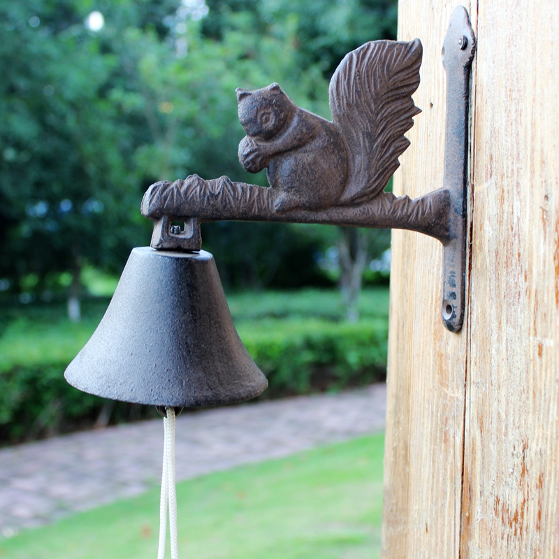 Cast Iron Welcome Dinner Bell Squirrel Country Rural
