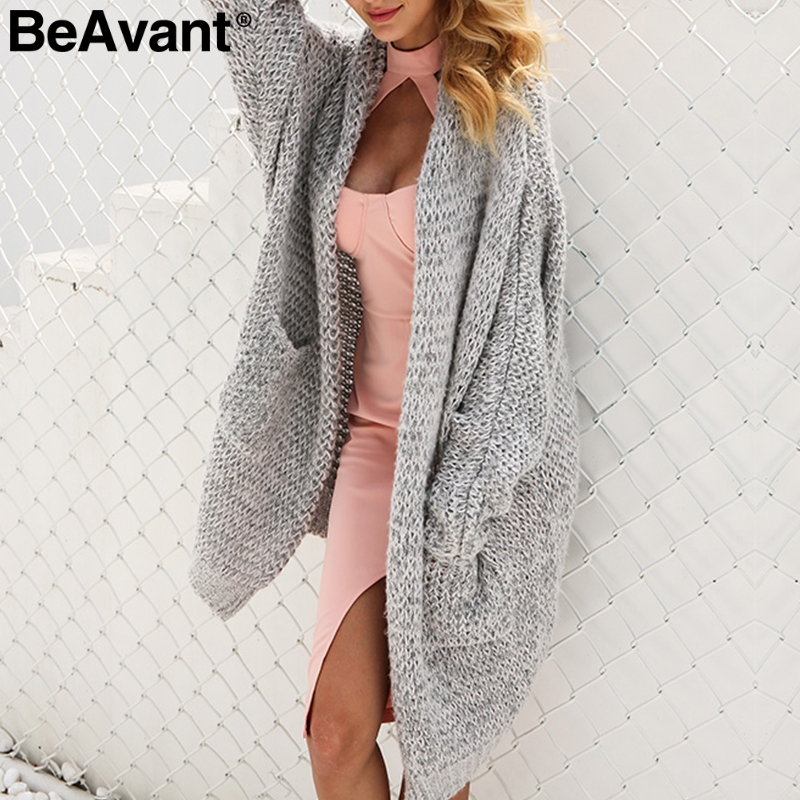 BeAvant 2018 Winter Knitted Sweater Women Cardigan Oversized Loose Knit Cardigan Coat Jumper Tricot Long Cardigan Lady Sweater