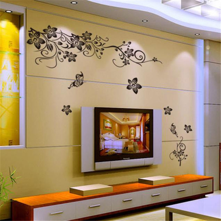 Wallpaper Sticker DIY Home Decor Hee Grand Removable Vinyl Pegatinas De Pared Wall Sticker Mural Decal Art - Flowers and Vine B#