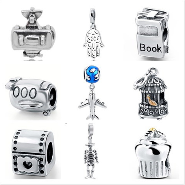 Fit Authentic Pandora Bracelets Charms Silver 925 Original Plane Clock Skull Shape Beads Jewelry Making