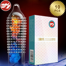 hot deal buy beilile 10pcs fire ice spike condoms large dots orgasm g-spot massage penis sleeve xxl sex set with studs funny condoms for men