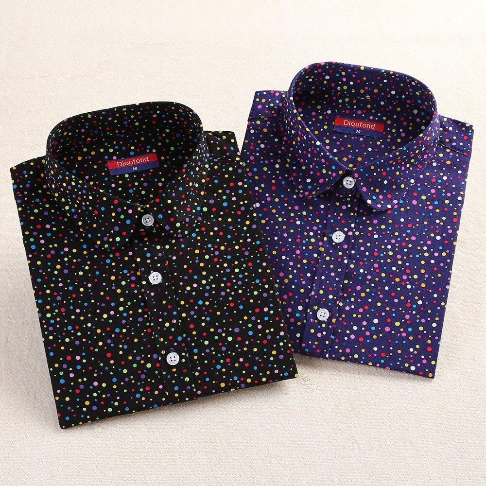 Dioufond, Хлопковая женская рубашка, блуза с длинным рукавом, красный горошек, Blusas Femininas, 5XL размера плюс, отложной воротник, женские модные топы