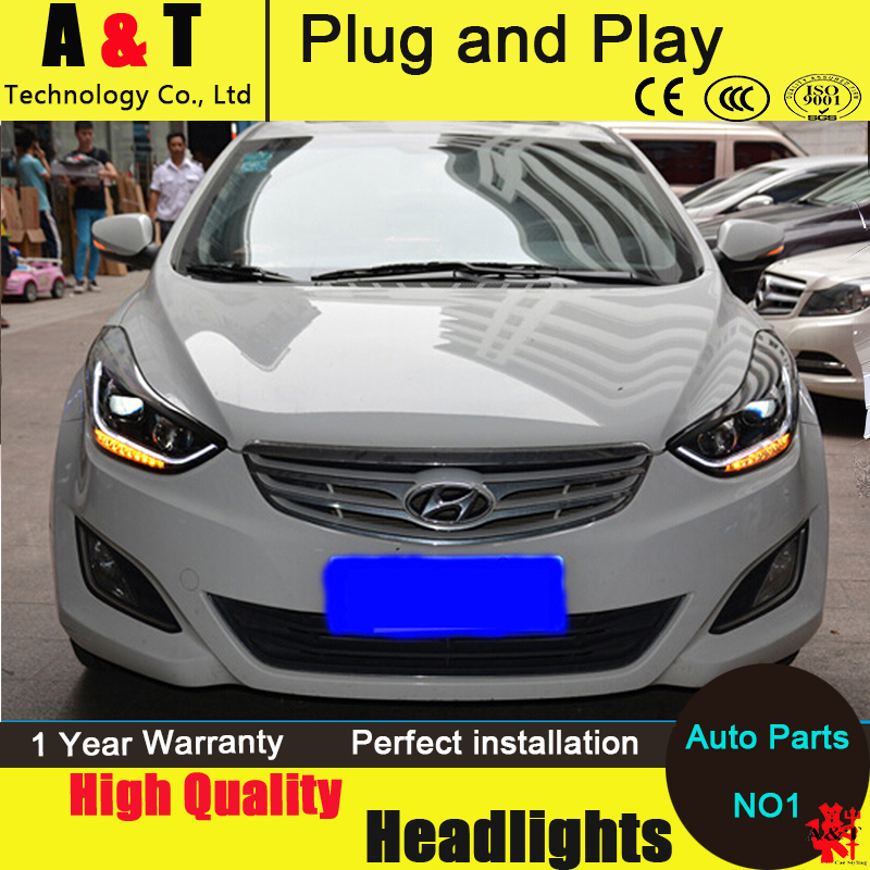 Car Styling For Hyundai Elantra Headlight assembly 2011-2014 Elantra MD LED Headlight led drl H7 hid kit with 2pcs. цена