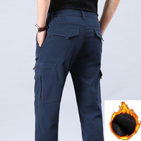ICPANS Black Cargo Pants Military Style Casual Fleece Thicken Warm Winter Mens Cargo Pants With Many Pockets Plus Size XXXL 4XL