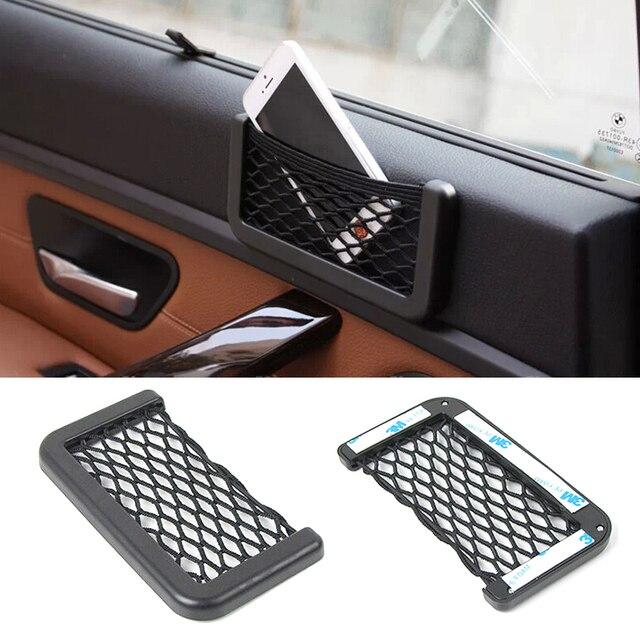 Car Net Organizer Pockets Car Storage Net Automotive Bag Box Adhesive Visor Car Bag For Tools Mobile Phone