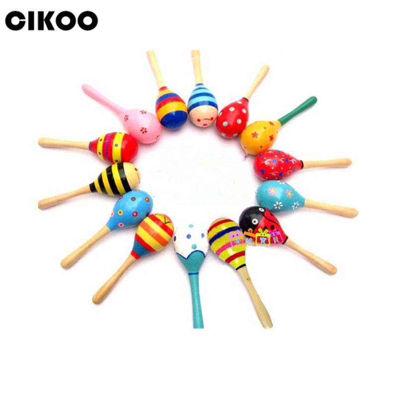 CIKOO 1pc Colorful Wooden Maracas Baby Child Musical Instrument Rattle Shaker Party Children Gift Toy free