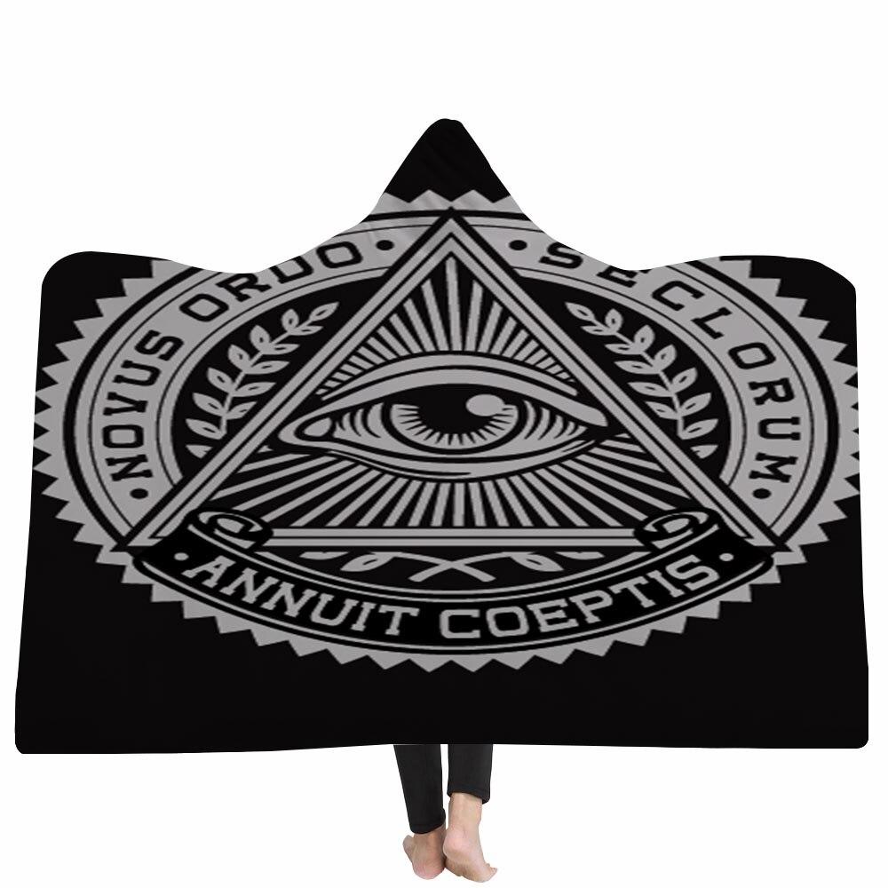 Nouveau Mandala yeux conception Sherpa molleton matériel imprimé épais mode chaud portable voyage maison hiver planète à capuche couverture