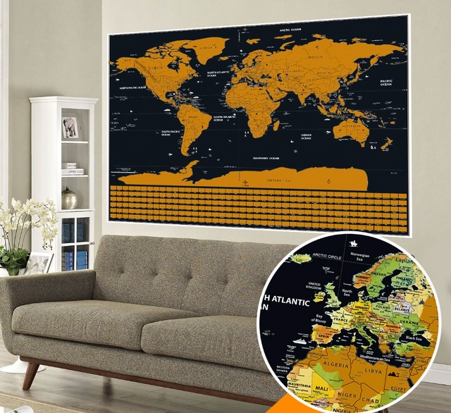 Deluxe gold scratch off world map glossy finish country flag travel deluxe gold scratch off world map glossy finish country flag travel map perfect gift for travelers gumiabroncs Choice Image