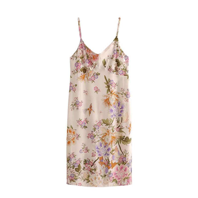 GYPSY Boho Chic летние Винтаж ремешок с цветочным принтом миди платье Для женщин с v-образным вырезом с вырезом сбоку с открытой спиной Пляжные наряды Femme Vestidos