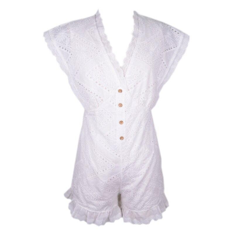 PZLCXH Sexy Cotton Embroidery V-neck Lace Ruffles Sleeveless Short Jumpsuit Women Summer Buttom Playsuit combinaison femme ZB230