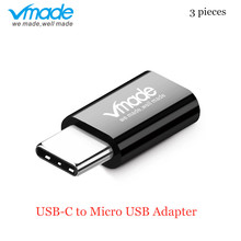 Vmade 3 pieces Type-C USB-C to Micro USB Converter for OnePlus 6T for Samsung Galaxy Note S8 S9 Plus Type-C Black Mini Adapter 50 pieces lot 42mm ngff m2 2 lane ssd to usb 3 1 type c usb c external pcba adapter card flash disk type black