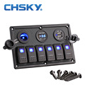 6 Gang LED Car Boat Rocker Switch Painel Dual USB Cigarro mais leve Painel Interruptor da Tomada Interruptor Do Painel Voltímetro Auto Carro LEVOU Barco