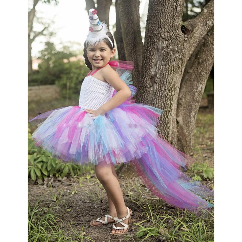 Princess Little Pony Unicorn Bustle Tutu Dress Girls Rainbow Birthday Party Photo Prop Tutu Dresses Halloween Custom For Kids