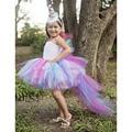 Unicorn Bustle Tutu Dress - Girls Size 10 12 Birthday, Photo Prop, Dress Up, Costume - Colorful Pony Mane