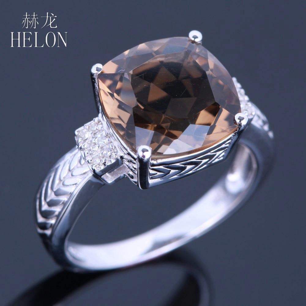 HELON Sterling Silver 925 Flawless 10x10mm Cushion Cut 4.78ct Smokey Quartz Topaz Real Diamonds Gemstone Jewelry Engagement Ring все цены