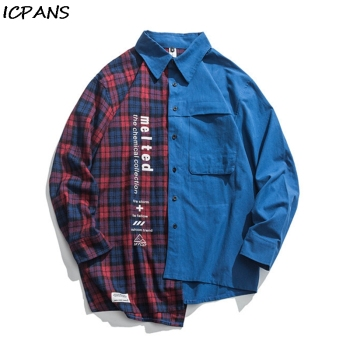 ICPANS Autumn New Street Hip Hop Casual Shirt Loose Trend Irregular Contrast Stitching Plaid Shirt Japanese Casual Shirt Male guo chao tang 2019 new autumn irregularity color patchwork printed plaid men shirts hip hop casual ribbon male shirt streetwear
