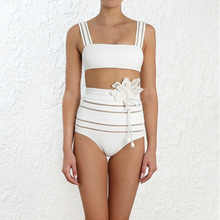2019 New Solid White Swimwear Women Set Off Shoulder Backelss Crop Top Sexy Top Lace Flora Hollow Out Lace Triangle Shorts