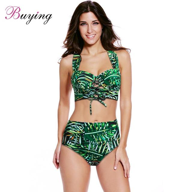e10ae893af47 € 12.47 |Selva bikini Sexy Bikini mujeres Set bikinis tropical hojas  imprimir traje de baño de dos piezas cordón Cruz vendaje traje de baño ...