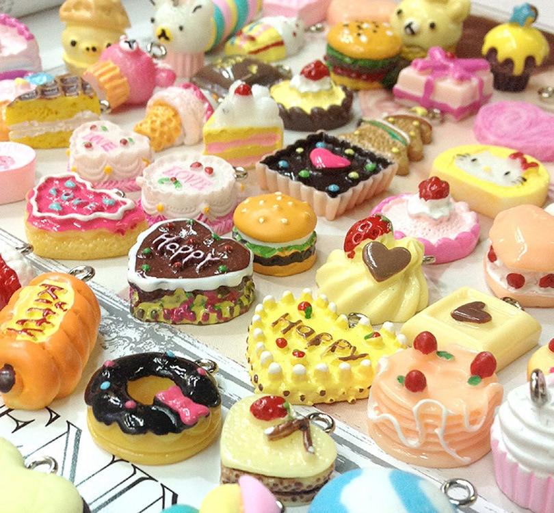 (10 Stücke Viel) Harz Kekse Kuchen Dessert Donut Lebensmittel Hamburger Kühlschrankmagnet Die Nieren NäHren Und Rheuma Lindern