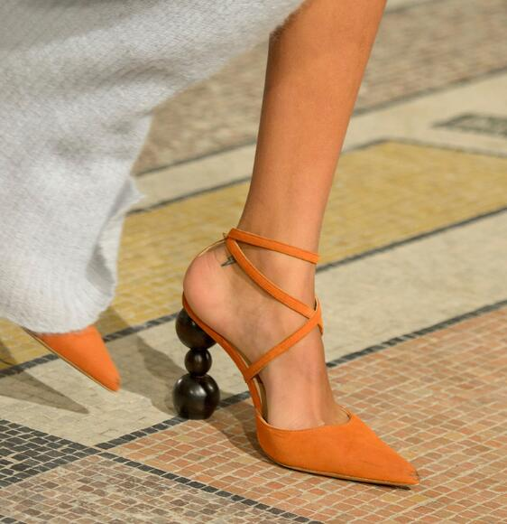 Прямая поставка; брендовые Женские однотонные пикантные вечерние туфли лодочки коричневого/черного/оранжевого цвета с перекрестными реме... - 5