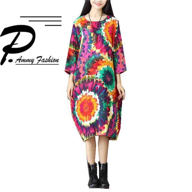 Lagenlook Colorful Florals Print Cotton & Linen Jumper Dress Womens ...