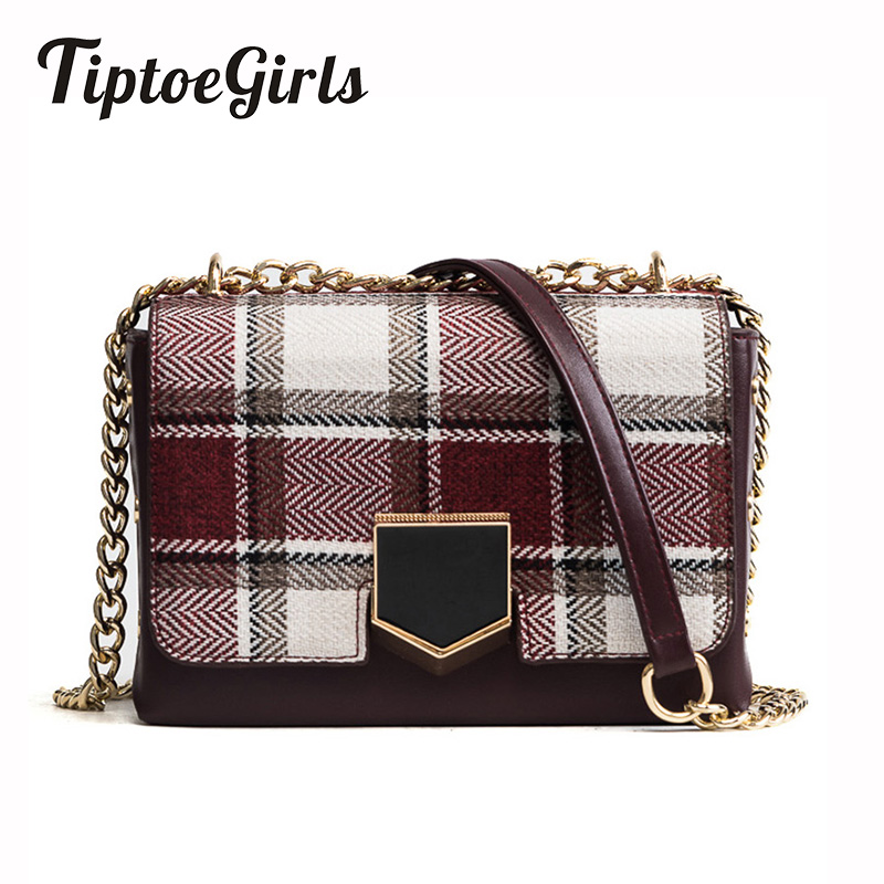 цена на New Korean Fashion Personality Plaid Stitching Small Square Package Casual Simple Temperament Chain Shoulder Messenger Bag Tide