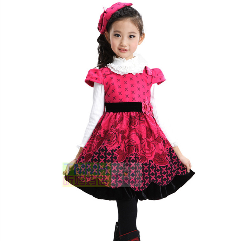 Kids Girls 2017 Autumn Winter New High Quality Autumn And Winter Dress Vest Princess Stage Dress Kids Winter Dress With Hat 2016 autumn winter clothing corduroy girls dress girl spring and autumn winter vest dress party princess dress