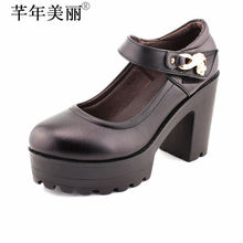 Sapato Feminino Women's Genuine Leather Shoes Platform High Heels Ankle Shallow Office Lady Pumps Bomba Para Mujeres WP026