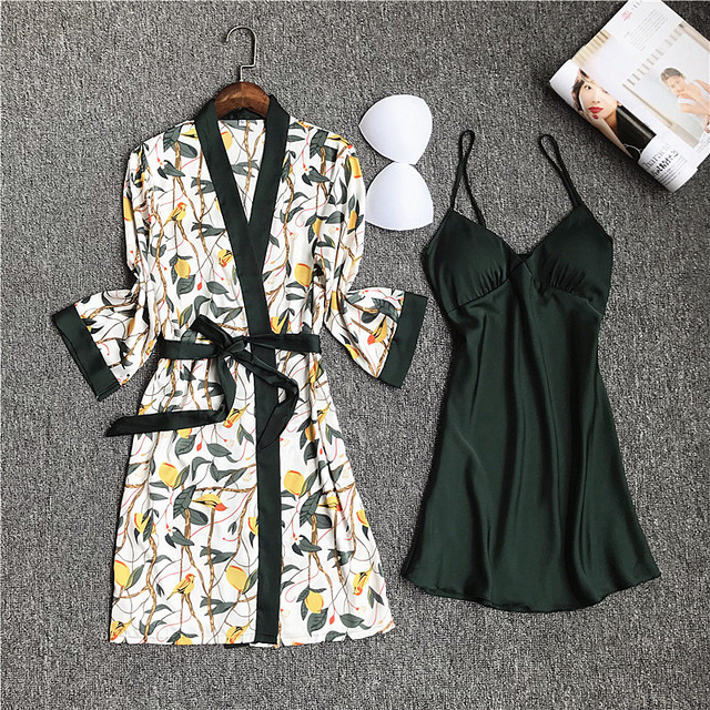 QWEEK Pajamas Sets Night Gown Robe Set Womens Nighty for Ladies Silk Dressing-gown Nightgown Nightwear Female Lingerie Robe Sexy