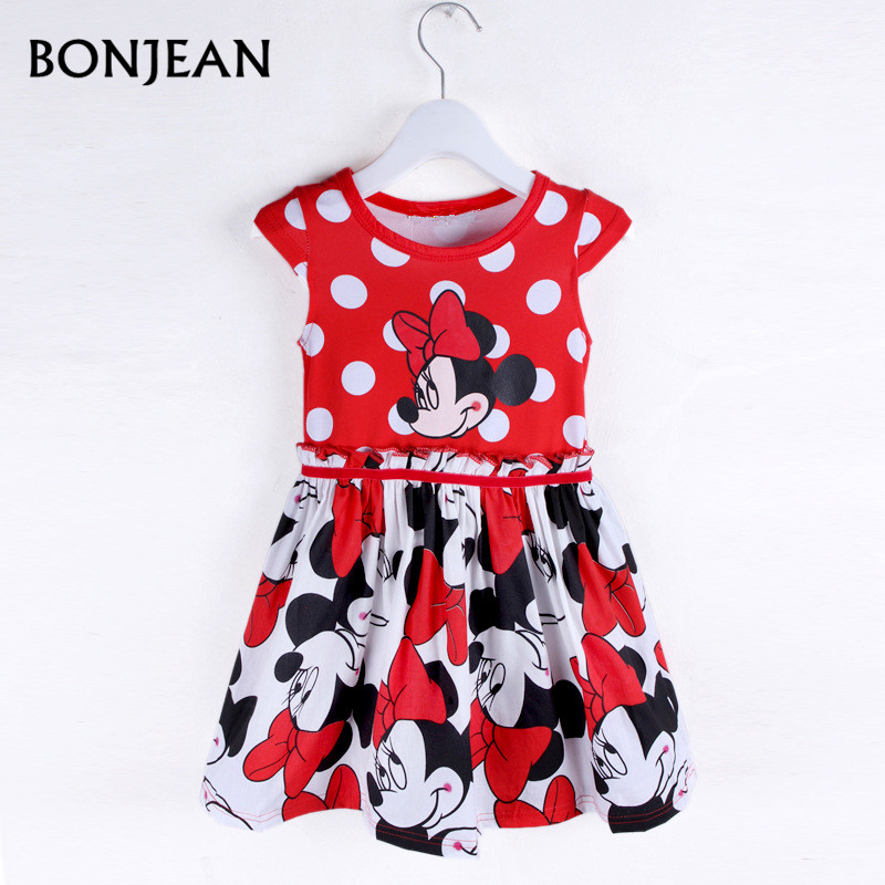 2017 New Fashion Summer Dress Princess Party dress Minnie Mouse Dress Girls Clothes Printing Dot Short Sleeve Dress Girls princess baby girl dress minnie mouse dress printing dot sleeveless party dress girl clothes fashion kids baby costume