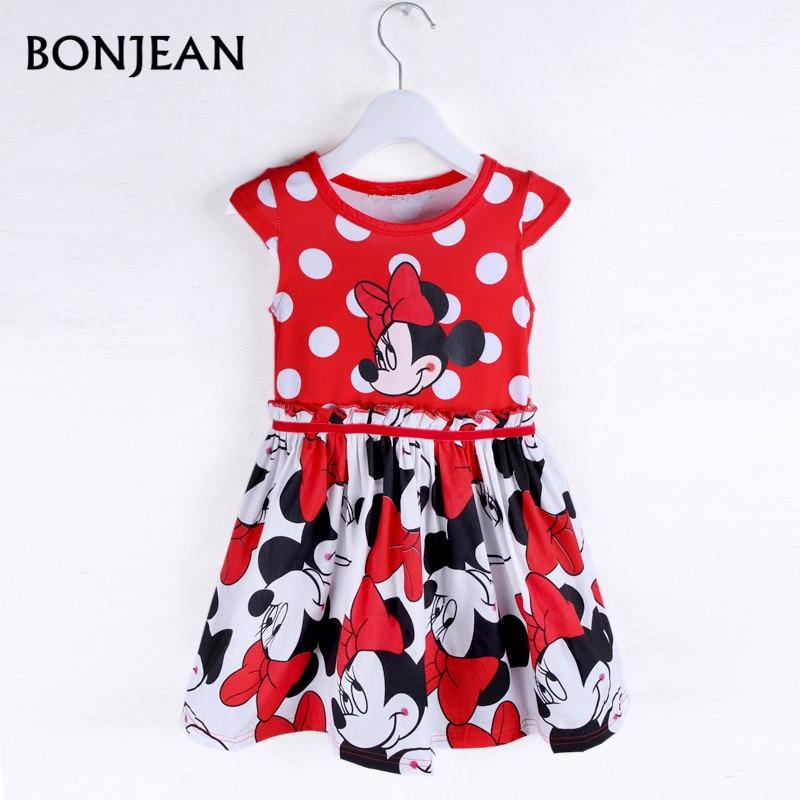 2017 New Fashion Summer Dress Princess Party dress Minnie Mouse Dress Girls Clothes Printing Dot Short Sleeve Dress Girls